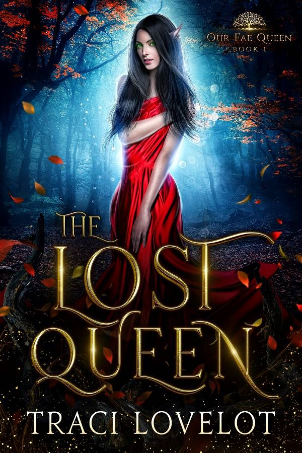 The Lost Queen book cover showing woman in red dress looking uncertain