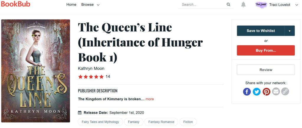 Bookbub book page for Kathryn Moon's The Queen's Line