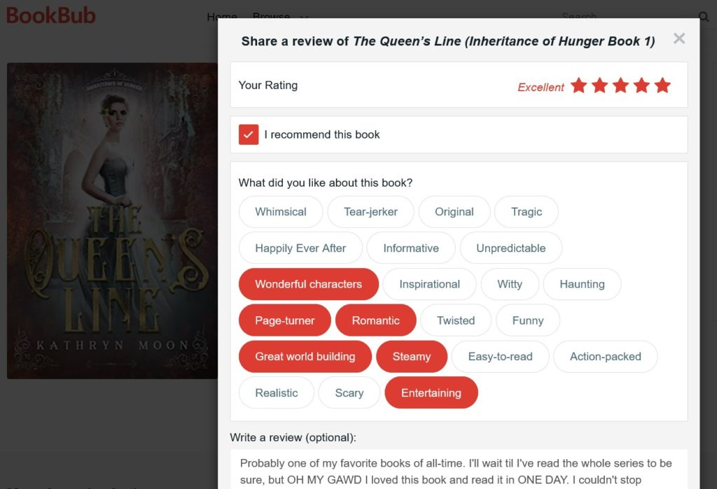 Bookbub write a book review popup where you can recommend the book