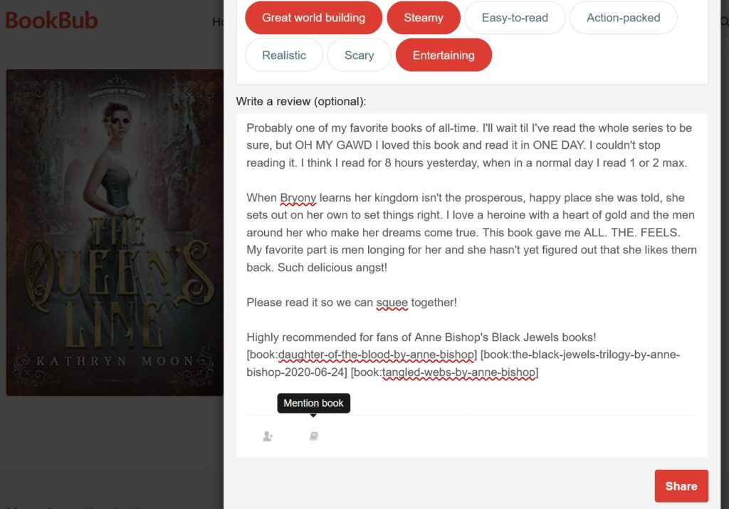 Bookbub review feature allows you to mention other, similar books