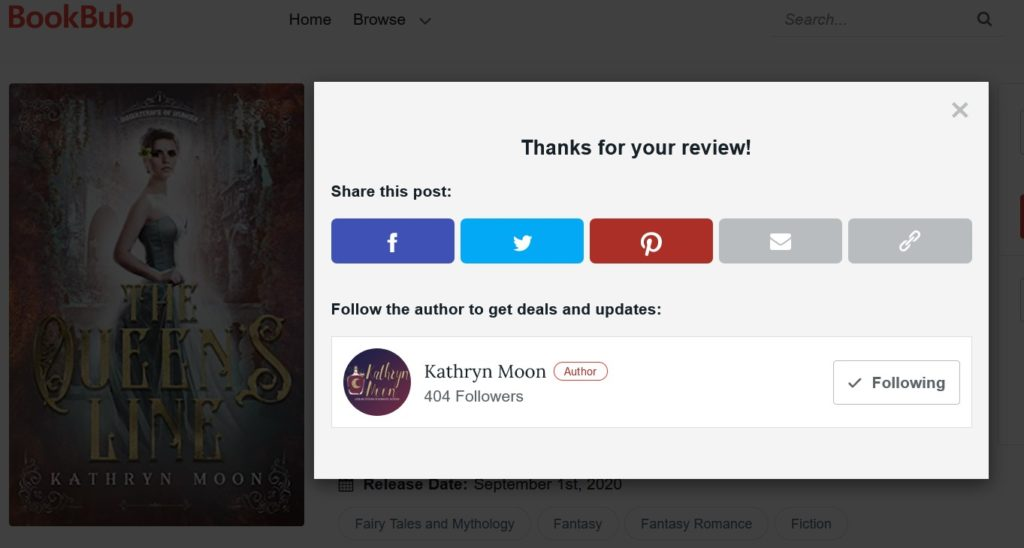 Bookbub thanks you for reviewing the book