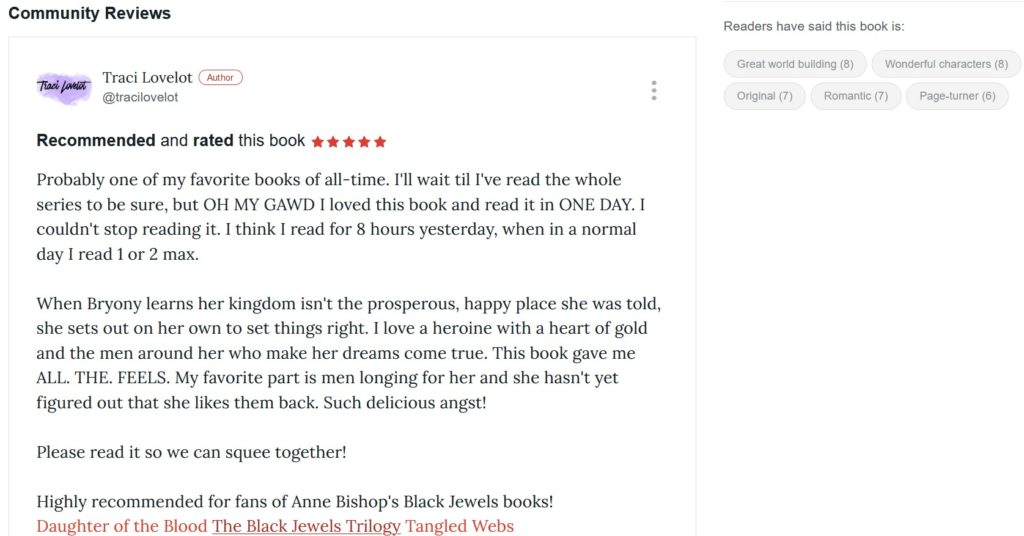 What your Bookbub review will look like on the book's page