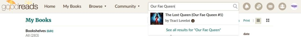 Goodreads search bar for Our Fae Queen