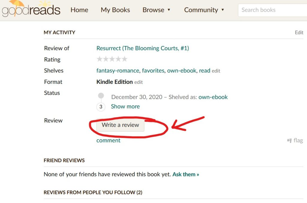 Write a Review button on Goodreads under My Activity header