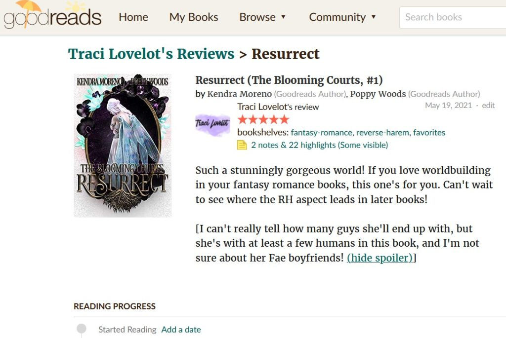 Goodreads individual book page